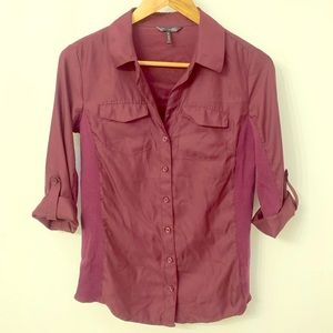 Daisy Fuentes eggplant button down with knit sides